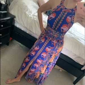 Jaase / Blue Floral Boho Maxi Dress